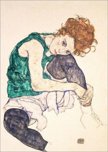 schieleDonna-seduta-con-un-ginocchio-piegato-1917